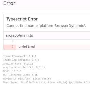 platformBrowserDynamicを消した時のエラー